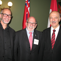 Photo: Left to Right: Andrew Hessel, Mark Poznansky, Minister Reza Moridi