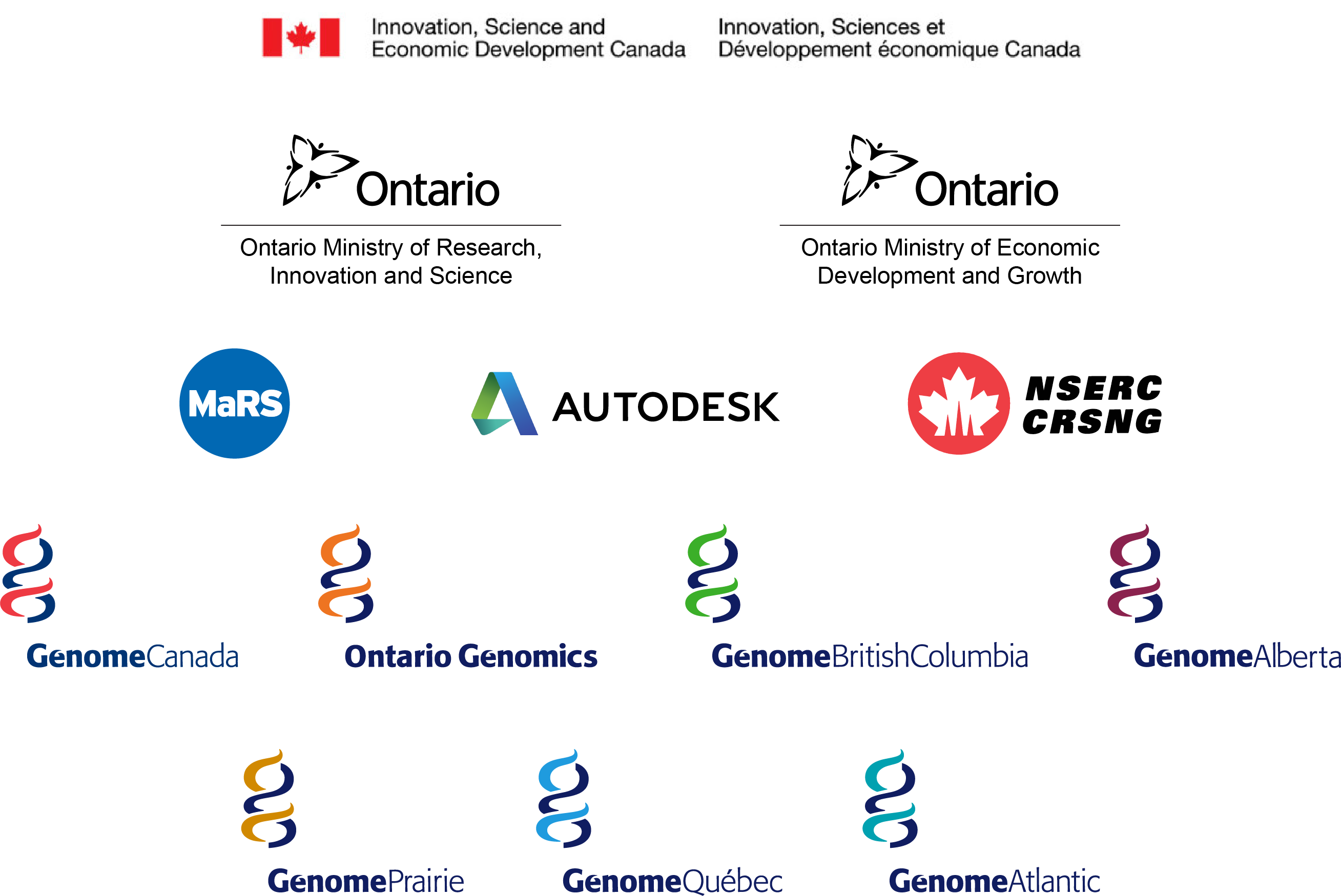 Genome Canada Enterprise; Innovation, Science and Economic Development Canada; Ontario Ministry of Research, Innovation and Science; Ontario Ministry of Economic Development and Growth; Natural Sciences and Engineering Research Council; MaRS Discovery District; Autodesk